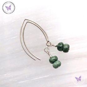 Seraphinite Rondelle Silver Angled Earrings